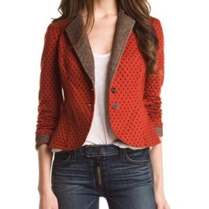 Free People Burnt Orange Quilted Blazer